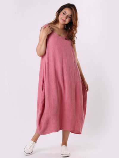 Italian Plain Vintage Wash Linen Sleeveless Shift Dress