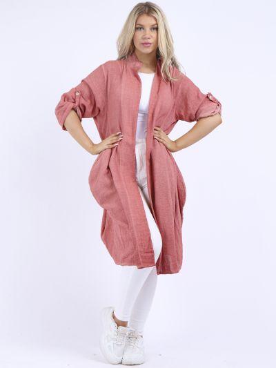 Italian Plus Size Open Front Plain Cotton Lagenlook Cardigan