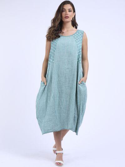 Italian Polka & Stripy Print Sleeveless Lagenlook Slouchy Dress