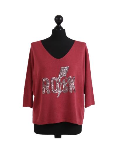 Italian Sequin ROCK Slogan Batwing Knitted Lagenlook Crop Top