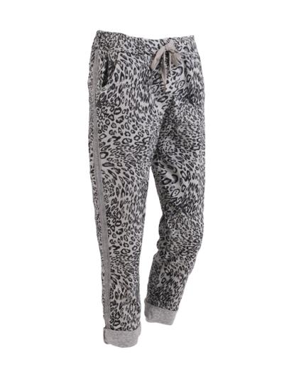 Italian Side Glittery Stripes Leopard Print Magic Pants