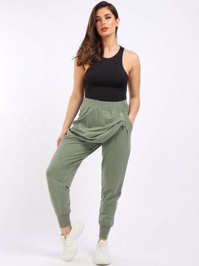 Italian Side Pockets & Zip Ribbed Cotton Sweat Pant