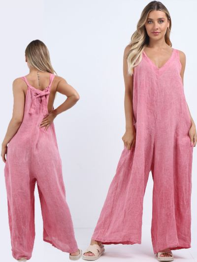 Italian Sleeveless Backside Knot Wide Leg Linen Jumpsuit