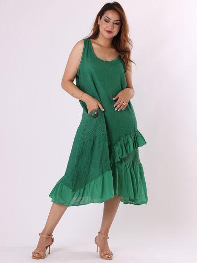 Italian Sleeveless Linen Chic Mesh Net Frilled Hem Lagenlook Dress