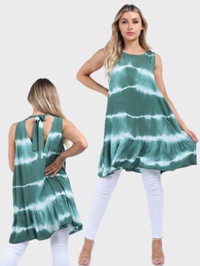 Italian Sleeveless Tie & Dye Print Ruffle Hem Tunic Top