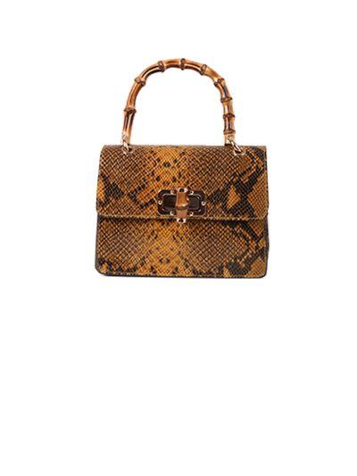 Italian Snake Print Leather Hand Bag