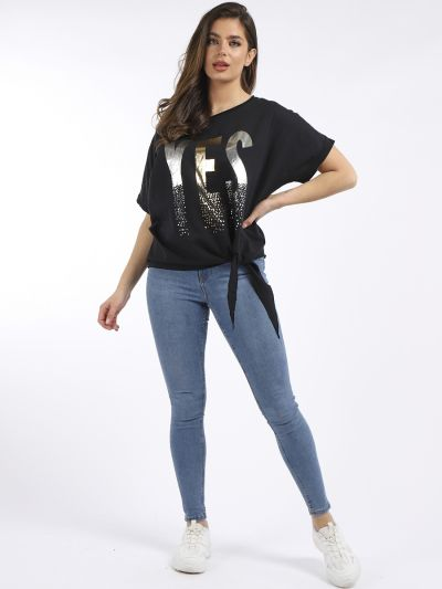 """Italian Splash Foil """"YES"""" Slogan Front Knotted Linen Crop Tunic Top"""