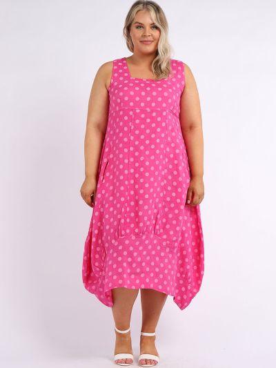 Italian Square Neck Polka Dot Print Sleeveless Linen Dress
