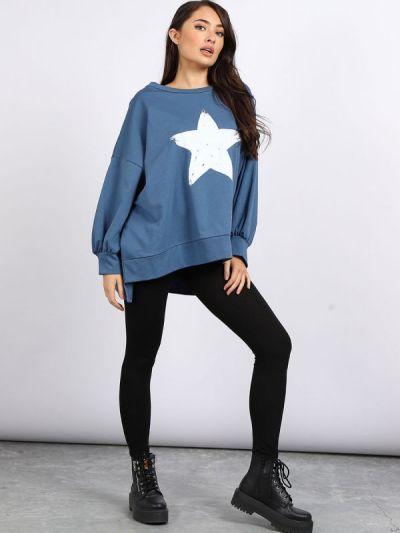 Italian Star Print Bubble Sleeves Plus Size Cotton Tunic Top