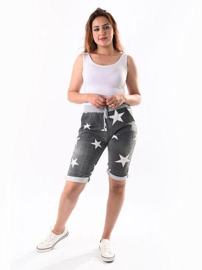 Italian Star Print Cotton Safari Shorts