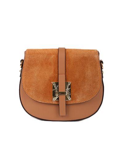 Italian Strap Tab Leather Saddle Bag