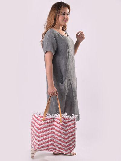 Italian Stylish Wavy Stripe Pattern Ladies Canvas Bag