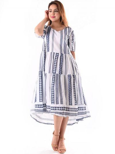 Italian Tribe Print Tiered Frilled High Low Cotton Lagenlook Dress
