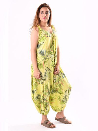 Italian Tropical Print Sleeveless Trendy Balloon Jumpsuit