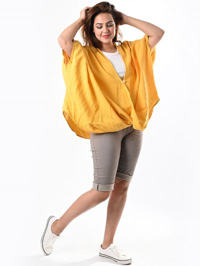 Italian Twisted Front Plain Cotton Batwing Tunic Crop Top