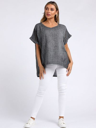 Italian V-Neck Vintage Wash Dipped Hem Relaxed Fit Linen Top