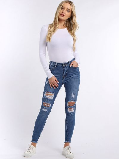 Ladies Cotton High Waisted Rough Skinny Denim Jeans