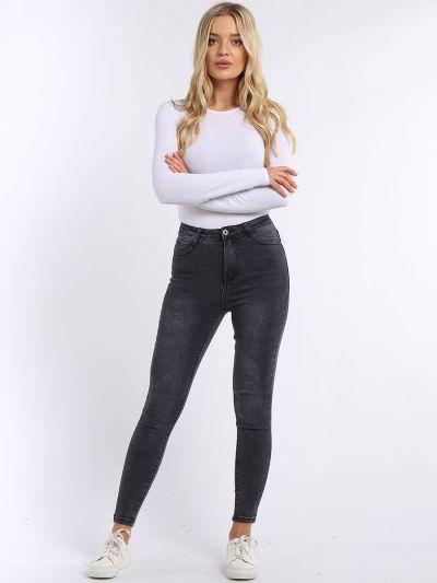 Ladies Cotton Plain High Waist Skinny Jeans