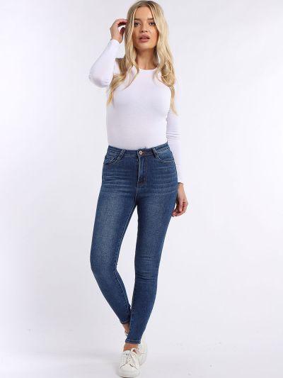 Ladies Faded Skinny Cotton Denim Pant