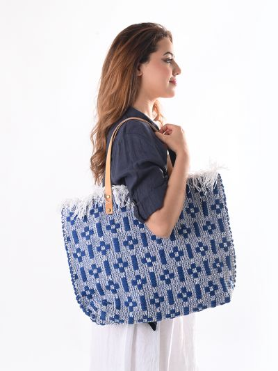Made In Italy Check Pattern Canvas Tote Bag