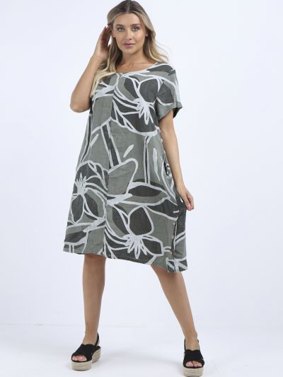 Made In Italy Classy Leaf Print Linen Lagenlook Shift Dress