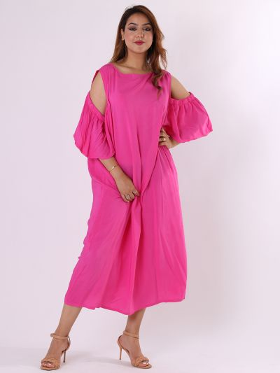 Made In Italy Cold Shoulders Flutter Sleeves Plain Straight Cut Dress
