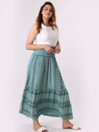 Made In Italy Floral Print Harem Tiered Skirt