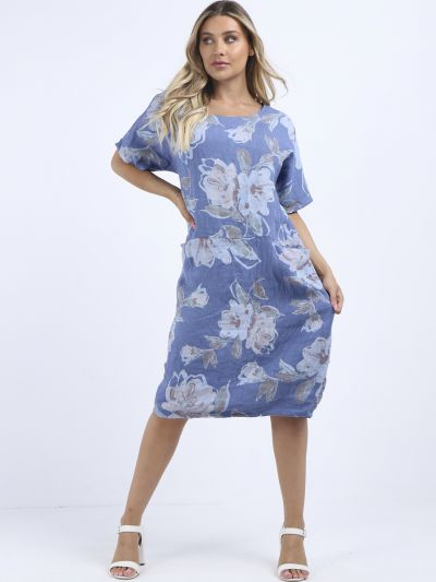 Made In Italy Floral Print Linen Oversized Lagenlook Shift Dress