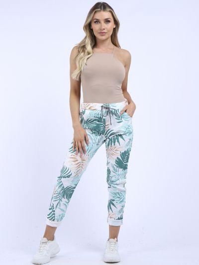 Made In Italy Leaf Print Ladies Casual Magic Pant