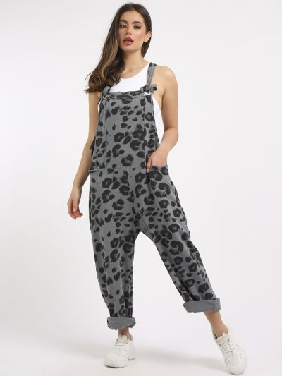 Made In Italy Leopard Print Cotton Lagenlook Dungaree
