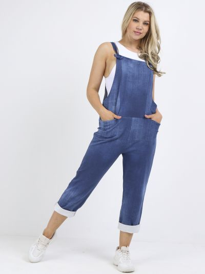 Made In Italy Plain Cotton Denim Pabo Dungaree
