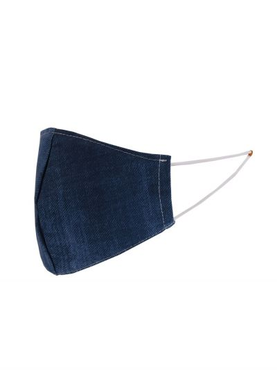 Made In Italy Plain Denim Washable Cotton Face Mask (PACK OF 5)