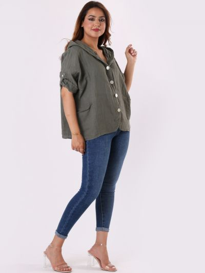 Made In Italy Plain Front Buttons Linen Hooded Crop Top