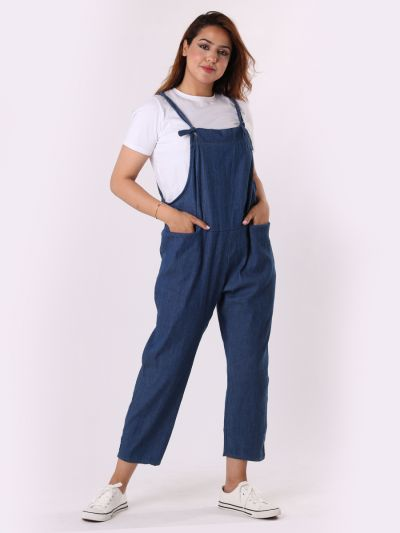 Made In Italy Plain Front Pocket Pabo Denim Dungaree