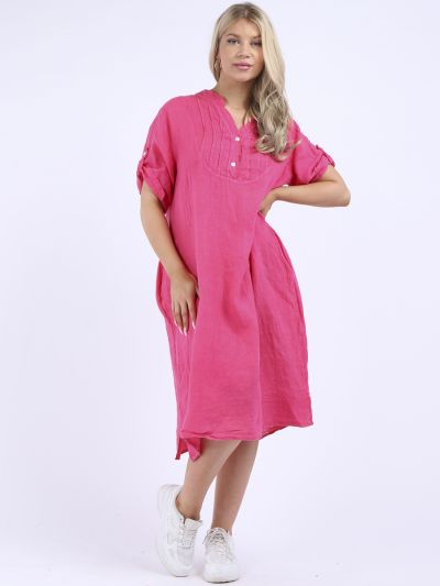 Made In Italy Plain Linen Oversized Lagenlook Slouchy Dress