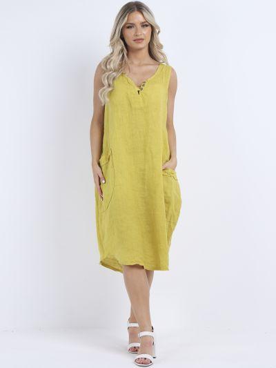 Made In Italy Plain Linen Sleeveless Lagenlook Slouchy Dress