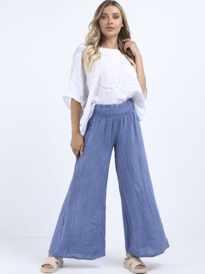 Made In Italy Plain Linen Wide Leg Palazzo Trouser