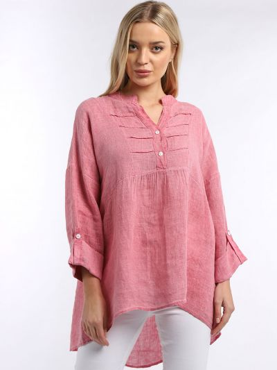 Made In Italy Plain Pleated Front Dip Hem Linen Tunic Top