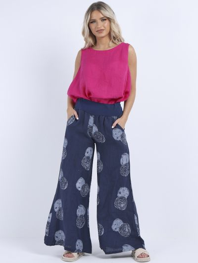 Made In Italy Polka Dot Print Linen Wide Leg Palazzo Trouser