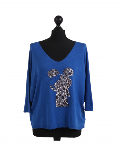 Made In Italy Sequin Mickey Mouse Knitted Lagenlook Crop Top