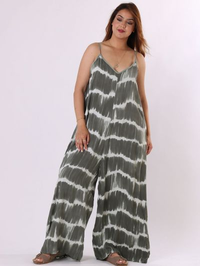 Made In Italy Tie And Dye Cami Style Sleeveless Wide Leg  Jumpsuit