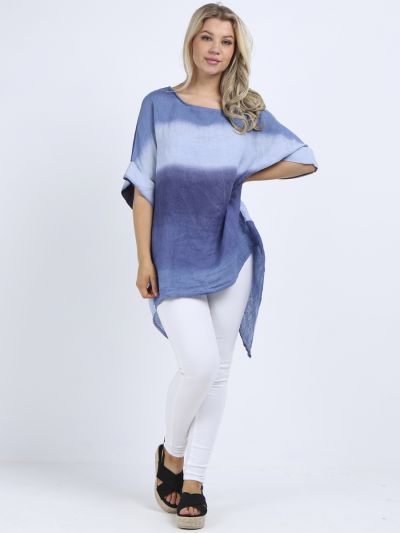 Made In Italy Tie And Dye Plus Size Dipped Hem Baggy Tunic Top