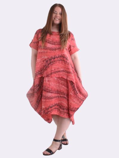 Made In Italy Tie & Dye Print Panel Cocoon Linen Lagenlook Dress