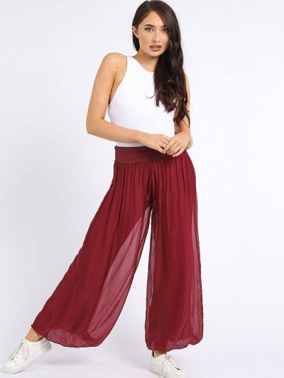 Made in Italy Plain Classy Silk Wide Leg Palazzo Pant