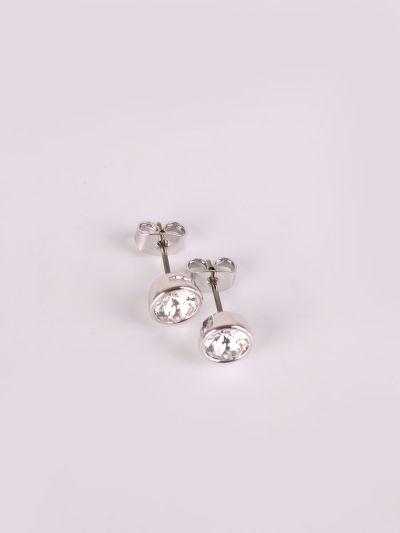 Rhodium Plated Crystal Stud Earrings