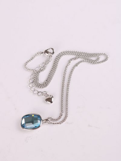 Rhodium Plated Crystal Necklace