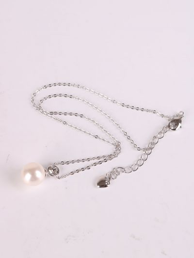 Rhodium Plated Crystal Pearl Pendant Necklace