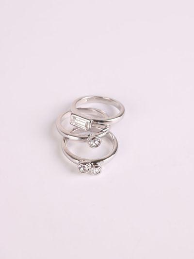 Rhodium Plated Crystal Three Rings Set